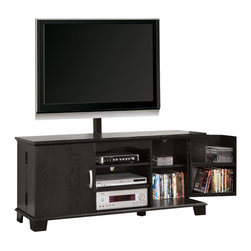 Walker Edison - Walker Edison 60 in. Wood TV Console with Mount in Black - Walker Edison - TV Stands - W60C73BLMT - Elegance and function combine to give this contemporary wood TV stand a striking appearance. The design creates a stylish modern look crafted from high-grade MDF and durable laminate. Console includes an upright TV mount that will accommodate most flat-panel TVs up to 65 in. Three levels of center shelving provide ample space for A/V components and interior doors hold approximately 215 DVDs or Blu-ray discs.