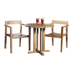 Westminster Teak Furniture - Horizon Teak Bistro Set - The refined luxuriousness of this teak furniture set has durability but also elegance in mind. Invite your guests to join you all season at your outdoor or indoor teak set to celebrate, entertain or just relax.