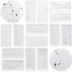 Susan Jablon Mosaics - Quarter Sheet of Birch Tree Series 1 Glass Tile - Birch Tree Series 1. Hand made rectangular clear glass tile accented with fused glass circles and squares, perfect for a vertical installation such as a backsplash or a master bath shower wall.