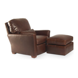"""WILLEM SMITH - Caballero Club Chair & Ottoman, Carson Taos - It is, quite simply, the most comfortable club chair. The Caballero Club Chair embodies all that is WILLEM SMITH: thought-through comfort engineering that has been agonized over and a chic, well-scaled profile that can be at home in virtually any space. But the Caballero is an everyday chair: sure, it might find itself in a man-cave but its true calling is in a living room that people actually live in (rather than """"oh, that's our lovely sitting room, but we only use it at Thanksgiving and for receptions after funerals.""""). Incidentally, we have two in our kitchen: now the smallest room in the house is the most comfortable. Sit it to believe it!"""