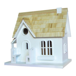 """Home Bazaar Inc. - Cozy Cottage Birdhouse - This is the perfect starter house for the common cavity dweller. Pine shingles, two adorable benches and a removable back wall are just some of the details awaiting the owners and residents of this """"cozy cottage"""". A mounting bracket is included for easy installation."""