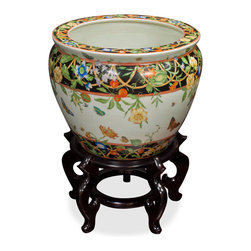 China Furniture and Arts - 12in Hand Painted Porcelain Fishbowl - The noble families of ancient China used large bowls such as ours to protect their pond carps from the freezing cold of winter. Used today as a cachepot, it gives a large plant a highly decorative place to put down roots. Completely hand painted from China. Stand sold separately.