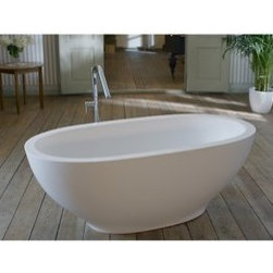 "Aquatica - Aquatica Karolina Freestanding AquaStone Bathtub - The sheer simplicity and organic shaping of Aquatica's beautiful freestanding Karolina bathtub reflects a unique understanding of the elemental nature of bathing luxury. Inspired by the deep basins found in nature, this freestanding bathtub cradles the body in the utmost comfort, with deep, graceful sides crafted from solid AquaStone which sensuously curve to gently support and pamper the bather. The elegant lines and natural stone-like quality of Karolina create an instant ""I want"" factor in any bathroom environment whilst providing the ultimate bathing experience that is simply divine. Aquatica's bathtubs offer modern glamour at affordable prices. The Aquatica line is diverse enough to encompass both bathtubs with classical elegance that match the style of your bath and bathtub models that are distinctive and unique as the centerpiece of your remodel.FeaturesStriking upscale modern designFreestanding constructionSolid, one-piece construction for safety and durabilityExtra deep, full-body soakErgonomic design forms to the body's shape for ultimate comfortQuick and easy installationAquaStone material provides for excellent heat retention and durabilityVelvety texture which is warm and pleasant to the touchHypoallergenic matte white surfaceColor is consistent throughout its thickness - not painted onColor will not fade or lose its brilliance overtimeBuilt-in hidden overflow drain and preinstalled pop up waste drain includedDesigned for one or two person bathingNon-porous surface for easy cleaning and sanitizing100% recyclable and fire-resistantMatching white stone coated drainAvailable in matte or glossy finish25 Year Limited WarrantyCode compliant with American standard 1.5"" waste outletsSpecifications Overall Dimensions: 70.875 in. L X 35.375 in. W X 25.625 in. HDepth to Overflow Drain: 15.25 in.Interior Depth: 19.625 in.Interior Length (Top): 64.125 in.Interior Width (Top): 28.625 in.Interior Length (Bottom): 35.375 in.Interior Width (Bottom): 15.75 in.Weight: 319 lbsCapacity: 69 GallonsShape: OvalDrain Placement: Center Spec Sheet for Glossy Spec Sheet for MatteNote: Glossy usually ships in 60 days, Matte usually ships in 1-2 days. Please allow an additional 2-3 business days for order transmittal and verification."