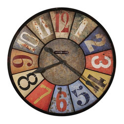 """HOWARD MILLER - Howard Miller County Line 30-3/4"""" Wall Clock - This rustic, metal oversized gallery wall clock is over 30"""" in diameter and features an aged dial with multi-colored panels with  unique Arabic numerals in various colors."""
