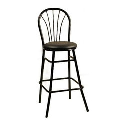 Alston - Cafe Metal Bar Stool w Arched Back (Tan) - Fabric: TanThe inverted U shaped back on this contemporary barstool features five spindles which along with splayed front legs and tiered foot rails adds a decorative look to this piece. Black metal framing is accented by the round upholstered seat which is available in a wide variety of colors. * Adds a classic elegance to your kitchen, dining or living area. Constructed of a metal frame. Stylish and durable. Suitable for commercial/residential use. Should be washed with mild soap and water. 16 Round x 37.5 in. H