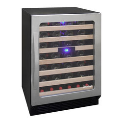 Vinotemp - Vinotemp - 50-Bottle Wine Cooler - Elegantly house your wine in Vinotemp's Seamless 50 Bottle Wine Cooler. Its exterior features a black cabinet with a stainless steel door and gliding metal shelves. The interior has a soft glowing light to help you find your wine easily.