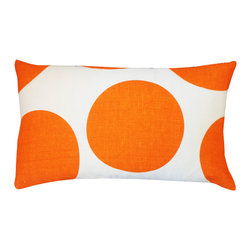 Jiti - Ball Orange Pillow - Jazz up your home decor with our Ball Orange Pillow!  Made from 100% Cotton. Invisible Zipper. DRY CLEAN ONLY. Insert is made of 95% feathers and 5% down.