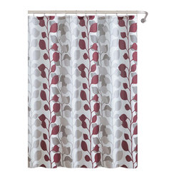Shower Curtain- 13pc Waffle Texture Set with Rollerball Hooks- Sydney Red - 13pc Sydney Red Waffle Texture Shower Curtain Set with Rollerball Hooks