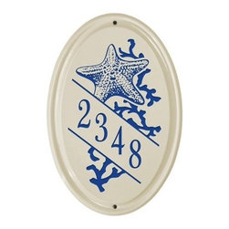 White Hall Star Fish Ceramic Oval Address Plaque - Vertical - Display your house numbers with a touch of coastal charm with the White Hall Star Fish Ceramic Oval Address Plaque – Vertical. This quality oval plaque features a horizontal orientation and is made with a durable ceramic material. A single diagonal line makes for highly visible numbers. Its star fish and coral graphic looks great while color options let you best match your outdoor decor.About Whitehall ProductsWhitehall Products are known as the world's leading manufacturer of weathervanes and is equally as respected for their high quality personalized home wall plaques. They also offer a wide variety of mailboxes, garden accents, hose holders, birdbaths, bird feeders, sundials, and more. Each offers an original design and is hand cast for the highest quality product available. Based in Montague Michigan, Whitehall has been producing these popular products for over 65 years.