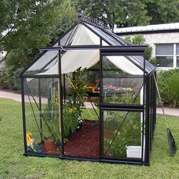 Janssens - Janssens Junior Victorian 7.75 x 10.1-Foot Greenhouse Kit - J-VIC23/JP2 - Shop for Greenhouses from Hayneedle.com! Additional FeaturesFeatures 2 roof windows for optimal ventilation5-feet high shoulders with large gutters4-inch high foundation frame is includedDurable rubber seals hold the glass panels in placeIncludes seed tray shade cloth and automatic window openerSidewall height measures 5.16 feetPeak height measures 8.5H feetMeasures 7.75W x 10.1L x 8.5H feetYou'll love the look feel and functionality of the Junior Victorian 7.75 x 10.1-Foot Greenhouse Kit. With a look reminiscent of an earlier era the greenhouse is made with thick and strong aluminum profiles which are black to add a touch of elegance. The 4mm tempered glass panels are constructed to be single piece for better insulation and to help keep your greenhouse clean. Most competitors use glass that's about 1mm thinner and overlapping panels that get dirty over time. The glass panes are also sealed with rubber to make sure the greenhouse is well-insulated. The greenhouse features two roof windows for optimal ventilation along with an automatic window opener. The sliding glass door can be placed on any vertical glass location for your convenience. The 5-feet high shoulders have large gutters and a 4-inch high foundation is included. The Junior Victorian Greenhouse Kit also includes a seed tray and shade cloth. Assembly is a weekend project for one or two people.About JanssensKnown as the incredibly sensible greenhouse company Janssens has been associated with quality greenhouses and orangeries and continuously gains knowledge and experience with these products. If you're looking for a greenhouse they're confident they have what you want. Janssens bases their business on their ability to listen and adapt to individual customer requirements from the get go. Their experience knowledge and flexible approach together with a high level of openness and integrity have resulted in an enviable level of customer recommendation. As they continue to progress they retain their old fashioned virtues of customer service and satisfaction.