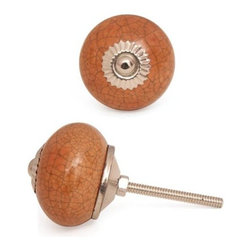 """Knobco - Ceramic Knob, Cracked Brown - Cracked Brown Ceramic Cabinet Knob, perfect  for your kitchen and bathroom cabinets! The knob is 1.7"""" in    diameter  and includes screws for installation."""