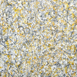 Sunshine and Showers Artwork - Modern abstract painting in the style of Jackson Pollock. Painted using yellow and grey tones representative of sushine and showers on a late spring day. Given the weather we've been having this seemed appropriate.  The technique looks random and and easy to achieve, however these take quite a bit of planning to create a balance across the whole painting built up over several layers, and keeping control over the tonal quality is actually quite difficult. A large piece for your collection with a huge WOW factor.