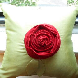 Etsy Items Summer 2012 - A beautiful red rose pillow up for sale. Background is green polyester, while the rose is made of out of pure silk chiffon. Handmade with love.