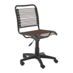 Euro Style - Bungie Low Back Office Chair - Extra strong bungie cord loops . Powder epoxy coated steel frame . Swivel, gas lift and casters. Adjustable Seat height: 17 in. - 20 in.. Durable and comfortable bungie cords. Color/Finish: Brown/Graphite Black. 18 in. L x 25 in. W x 32 in. HBungie goes hi-tech.  Or is it lo-tech?  Either way, this is the Bungie made for fun.  This one is bound to brighten up an office or a kids room. Game on!