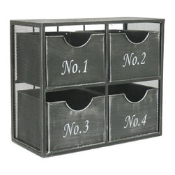 Numerical Drawer Unit - Sort it out with this cool metal drawer cube. Each drawer is numbered, then fit into the mesh frame for easy organization with a rugged, industrial look.