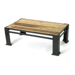 Go Home - Iron & Reclaimed Wood Ferrovia Table - The Ferrovia Table is rustic , industrial design is sure to uplift and refresh.It has reclaimed wood top and blackened iron frame.This will be one of your favorite pieces in your home.