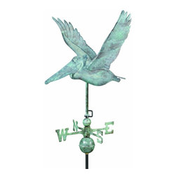 G.D. - Good Directions Pelican Weathervane - Blue Verde Copper - This wise pelican watches out for fish and weather changes as it swoops over the rooftop of your house, barn, garage, or copula. Our Good Directions' artisans use Old World techniques to handcraft this fully functional, standard-size weathervane that's unsurpassed in style, quality and durability. A great gift for marine enthusiasts!