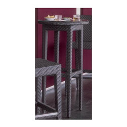 Hospitality Rattan - Soho Patio Woven Pub Table in Rehau Fiber Jav - Color shown is not accurate . See additional image as an example of the EXACT product color. This product is warranted for outdoor use. Outdoor wicker pub table. Rehau Fiber java brown finish. includes woven top. Weather and UV resistant. plexiglass is used as support underneath wicker weave. Sturdy aluminum legs for extra support. Some assembly required. 24 in. W x 24 in. D x 44 in. H (20 lbs.)The Soho Collection is a sleek contemporary collection that offers a unique see-through modular sectional that allows endless possibilities ranging from a sofa, loveseat, armless chair setup, to a standard sectional. The Soho Collection offers a fully anodized aluminum frame, which is then woven with Rehau Java Brown fiber. Its unique look and multi-colored textured surface make it one of the most attractive collections for outdoor use. The Soho Collection only requires cushions for the seating pieces. The balance of the collection can be used without cushions. In addition, glass is optional as the table tops are fully woven and offer reinforced plexiglass undersides for enhanced sturdiness. The large round dining table accommodates an umbrella. The Soho armchair and chaise lounges are all stackable items. The cushions used on the Soho collection are available with synthetic outdoor fabrics including Sunbrella. Most importantly the quality of the Soho collection makes it ideal for contract settings.