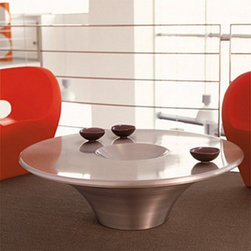 Cattelan Italia - Cattelan Italia | Alien Coffee Table - Made in Italy by Cattelan Italia.Truly out of this world, the Alien Coffee Table is a whimsical piece that references all our notions of the space age. Unique and sophisticated, it features a 46 inch round tabletop with a 9 inch round and a 2 inch deep depression in its center. The effect is an artistic statement that can only be found in Italian workmanship and design. With just the right amount of brilliance, the table transforms any room with modern elegance.