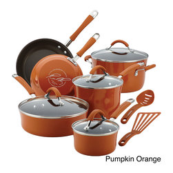 Rachael Ray - Rachael Ray Cucina Hard Enamel Nonstick 12-piece Cookware Set - Adding earthy style and color to the kitchen,this aesthetically pleasing cookware set features saucepans,skillets,and more for creating delicious,memorable meals. The modern and rustic design of this cookware creates a pleasant cooking environment.
