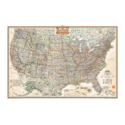 "WallPops - National Geographic USA Map Wall Decal - The National Geographic Dry-Erase Map of the USA is classy and cultured. With a distinguished palette of earth tones, and a statelygold frame around the title, this map is a timeless decor accent. A dry-erase marker completes the look so you can make notes, plantravels, and more on the educational and attractive peel and stick executive style map. This dry erase map is 24"" x 36"" and is repositionable."