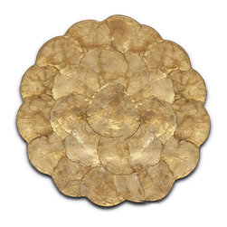 "Single Sided Cork Backed Capiz Hot Pads, 10"" Gold - Beautifully accenting your arrangements of tempting dishes or favorite home accents with a shimmering golden base, this transitional alternative to the trivet also prevents hot dishes from marring your table and countertops � all with a layer of natural capiz shells from the Philippines dyed in an on-trend metallic that enhances their natural, organic shimmer.  This larger of two versions of the Capiz Hot Pad is backed in cork."