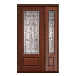 """Prehung Sidelight Door 96 Fiberglass Marsala 1 Panel 3/4 Lite Glass - SKU#MCR18572_DF834M1-1BrandGlassCraftDoor TypeExteriorManufacturer Collection3/4 Lite Entry DoorsDoor ModelMarsalaDoor MaterialFiberglassWoodgrainVeneerPrice4190Door Size Options32"""" + 14""""[3'-10""""]  $032"""" + 12""""[3'-8""""]  $036"""" + 14""""[4'-2""""]  $036"""" + 12""""[4'-0""""]  $0Core TypeDoor StyleDoor Lite Style3/4 LiteDoor Panel Style1 PanelHome Style MatchingDoor ConstructionPrehanging OptionsPrehungPrehung ConfigurationDoor with One SideliteDoor Thickness (Inches)1.75Glass Thickness (Inches)Glass TypeDouble GlazedGlass CamingSatin NickelGlass FeaturesTempered glassGlass StyleGlass TextureGlass ObscurityDoor FeaturesDoor ApprovalsTCEQ , Wind-load Rated , AMD , NFRC-IG , IRC , NFRC-Safety GlassDoor FinishesDoor AccessoriesWeight (lbs)498Crating Size25"""" (w)x 108"""" (l)x 52"""" (h)Lead TimeSlab Doors: 7 Business DaysPrehung:14 Business DaysPrefinished, PreHung:21 Business DaysWarrantyFive (5) years limited warranty for the Fiberglass FinishThree (3) years limited warranty for MasterGrain Door Panel"""