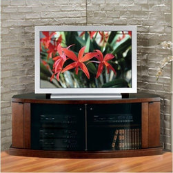 """JSP - Concerto 62"""" Corner TV Stand - TheConcerto 62'' Corner TV Credenzais the perfect space saving solution for any room. It's beautiful finish will undoubtedly brighten and enhance any room decor. Although thiscredenzameasures 62'' wide, it uses less wall space than othercorner credenzason the market due to its front curvatures. Made of solid birch and two face veneer panels, the quality workmanship and solid construction will make this piece of furniture everlasting. Features: -Removable, sliding back panel.-Chimney type ventilation to protect components from over-heating.-Credenza must be installed in a corner only.-Tinted curved glass door.-Adjustable shelves; recessed to allow for component accessibility.-Wood doors offer hidden media storage.-Back of credenza to corner of wall: 19''.-Front of credenza to corner of wall: 48.5''.-Interior wire access hole: 2.5''.-Adjustable levelers included.-Additional finishes available as special order - Please call our qualified customer service team for details. Special orders cannot be canceled once placed.-Constructed of solid birch and birch veneer.-Distressed: No.-Collection: Concerto.-Country of Manufacture: Canada.Specifications: -Can hold up to 20 DVDs.Dimensions: -Center component area dimensions: 23'' H x 44.5'' W x 20.75'' D.-Side media storage area dimensions: 23'' H x 4.625'' W x 12'' D.-Overall Product Weight: 143 lbs."""