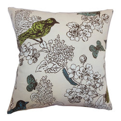 "The Pillow Collection - Ouvea Birds Pillow Sea Grass - This adorable and nature-inspired throw pillow is an ideal accent piece for your bed, sofa or chair. This decor pillow comes with flora and fauna print in beautiful shades of green, blue, brown and white. This square pillow is made from a blend of well crafted materials: 95% cotton and 5% linen fabric. Team this accent pillow with solids or use it on its own. This 18"" pillow suits various decor styles and settings. Hidden zipper closure for easy cover removal.  Knife edge finish on all four sides.  Reversible pillow with the same fabric on the back side.  Spot cleaning suggested."