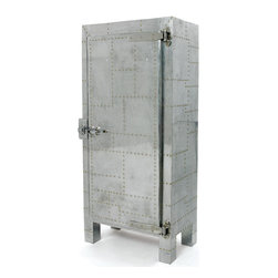 Old School Freezer Cabinet - Give your home d��_cor a traditional look with this Hip Vintage Freezing Cabinet. You can also use this type of freezer as a pantry. You can store all of your canned goods, pasta, cereal, and many other products in it. This vintage style cabinet is manufactured from quality wood covered with hammered tin. This cabinet is designed with a distressed and nailed finish. This left door opening freezer is bottom mounted. It showcases three shelves and a door lock. It comes with a certification for commercial food service applications, and includes a sealed cabinet interior for easy cleaning and maintenance over the years.