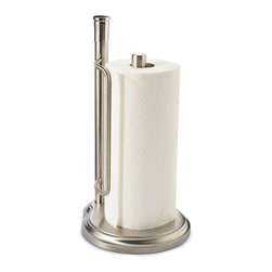 Frontgate - Best of Basics Paper Towel Holder - Generously proportioned and beautifully crafted from brushed stainless steel, we designed our premium Paper Towel Holder to echo the look of your upscale kitchen decor. Weighted base for greater stability. Sleek design compliments any kitchen decor. Brushed stainless steel construction.
