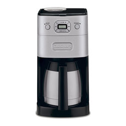 Cuisinart - Cuisinart DGB-650BC Brushed Metal Grind-and-Brew 10-cup Automatic Coffee Maker - Pick out your favorite beans and easily grind and brew them into a delicious cup of joe with this automatic Cuisinart coffeemaker. The thermal stainless-steel carafe keeps your coffee warm,so you wont have to brew another pot if you want another cup.