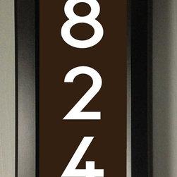 Address LED - lighted address signs - Address LED illuminated address panel - lighted address sign using a black powder coated aluminum frame, modern 3 font, and antque bronze vinyl background