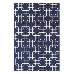 """Loloi Rugs - Loloi Rugs Geo Collection - Navy / Ivory, 3'-6"""" x 5'-6"""" - Bold geometric patterns and fun color combinations come together beautifully in Geo. Printed on a cotton surface in India, Geo's designs offer eye-catching appeal, while its 100% cotton material keeps the look simple and casual - great for today's modern living rooms, dining areas, or kid's room."""