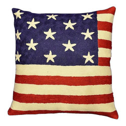"""Modern Wool - American Flag Pillow Cover Union Jack Hand Embroidered 18"""" x 18"""" - American Flag Pillow Cover- The entire cotton base of this beautiful pillow cover is overlaid with soft wool, stitch by stitch, creating an extraordinary show piece for your decor. This is world-class workmanship created to enhance your world with dynamic color and motif."""