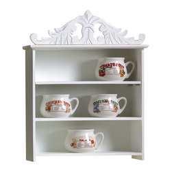 Malibu Creations - Malibu Creations Plume Display Shelf - Your vintage teacup collection deserves a fitting home in the kitchen, with just the right touch of sophisticated whimsy. Your decorative French bath soaps, wrapped in pretty floral paper, along with your beautiful beauty products should be perfectly perched on your powder room wall. Heirlooms, flea market finds, keepsakes from bygone days, and travel mementos will all find a fitting home upon this romantic wall-mounted white display shelf. With three tiers and a distressed fleur-de-lis plume, this fashionable and functional furnishing has an undeniable 'je ne sais quoi' that will dress up any room of your home with French countryside charm.