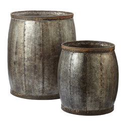 Lazy Susan - Lazy Susan Fortress Drums Set of 2 - Inspired by medieval iconography, the hand-forged and weathered iron Fortress Drums from Lazy Susan add industrial chic design to a living room. Whether used for storage or as side tables, these barrels make a powerful statement in the home with their hammered rivet details and aged finish. Sold as set of 2