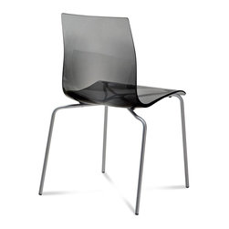 Domitalia - Gel-B Stacking Chair - Transparent Smoke - Satinated Aluminum Frame - Set of 2 - Wispy and clean, it's easy to style a room or a table with this versatile chair. Gel-B is constructed of a lacquered metal frame with a styrene acryl nitryl shell. Stackable to four high. Sold in sets of two. Select transparent Orange, Red or Fume or opaque Black or White.