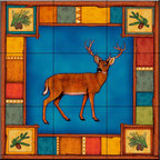 The Tile Mural Store (USA) - Tile Mural - Wilderness Elk   - Kitchen Backsplash Ideas - This beautiful artwork by Dan Morris has been digitally reproduced for tiles and depicts a framed deer.    Our elk tile murals and our tiles with deer are perfect as part of your kitchen backsplash or your tub and shower surround bathroom tile project. Elk images on tiles and images of deer on tiles add a unique element to your bathroom tiling project as well. Consider a tile mural of a woodland scene for any wall tile project.