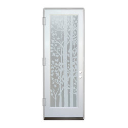 Sans Soucie Art Glass (door frame material Plastpro) - Glass Front Entry Door Sans Soucie Art Glass Forest Trees Private - Sans Soucie Art Glass Front Door with Sandblast Etched Glass Design. Get the privacy you need without blocking light, thru beautiful works of etched glass art by Sans Soucie!  This glass is semi-private.  (Photo is view from outside the home or building.) Door material will be unfinished, ready for paint or stain.  Bronze Sill, Sweep.  Satin Nickel Hinges. Available in other finishes, sizes, swing directions and door materials.  Tempered Safety Glass.  Cleaning is the same as regular clear glass. Use glass cleaner and a soft cloth.