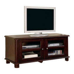 Coaster - Coaster Cappuccino Transitional Media Console with Doors and Shelves - Coaster - TV Stands - 700610 - This elegant transitional TV stand will look great in any living room. The piece features soft rounded edges with simple molding at the base and shaped feet. The generous top surface will accommodate your television while two glass doors below open to reveal shelves that are perfect for storage of electronics components. Simple metal knobs accent the door fronts. finished in a deep dark cappuccino finish this media console is sure to complement your decor. Create an inviting living room with warm style with this functional TV stand. A similar style is available in a smaller size and walnut finish. Choose from a variety of TV stands to fit your needs and complement your home decor! With many different styles finishes and sizes available you are sure to find an option that you love. With plentiful media storage options and entertainment solutions these media console will keep your family and friends happily entertained for hours without compromising the style of your living room or family room.