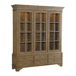 Ambella Home - Mariedal 3-Door Vitrine - Crafted from mindi solids and veneer and finished in an antique Swedish green with burnished accents, this bookcase features three doors with nine adjustable shelves and six drawers. Light kit (3) with touch dimmer installed.  Imported.