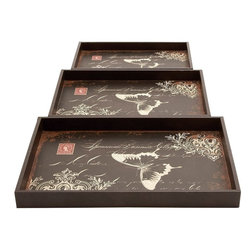 Benzara - Trays Decorated with Bold Butterfly Motif - Set of 3 - Add a quintessential English touch to staid settings with this Wood Leather Trays Decorated with Bold Butterfly Motif (Set of 3). These well-designed wood leather trays flaunt a charming, elegant appeal. Made available in a set of three, these trays have versatile applications for serving and can be used as display pieces to enhance kitchen decor. Decorated with a bold butterfly motif, this set of trays features classic style scroll detailing for an attractive look. These trays feature a rich brown finish and have matching leather inlays with distressed accent for added visual appeal. This stylish set of trays can be a perfect gifting option. This set of elegant trays is designed using a combination of wood and leather materials which promise durability and hassle-free usage.