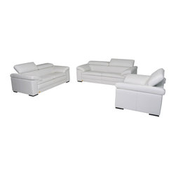 VIG Furniture - Samoa Full White Top Grain Italian Leather Sofa Set With Adjustable Headrests - The Samoa sofa set will add a elegant modern touch to any decor it's placed in. This sectional comes fully upholstered in a white black top grain Italian leather. High density foam is placed within the cushions for added comfort. The sofa set features a stylish sleek modern design that adds to the overall look. Each piece has built-in adjustable headrests for that extra touch of relaxation. The sofa set includes a sofa, loveseat, and chair only.
