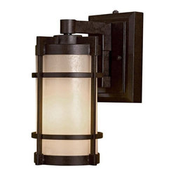 Minka Lavery - 72022A179-PL Andrita Court 12 In. Single Light Outdoor Wall Sconce Textured Fren - Minka Lavery 72022A179-PL Andrita Court 12 Inch Single Light Outdoor Wall Sconce in Textured French Bronze with Pearl Mist Glass Shade