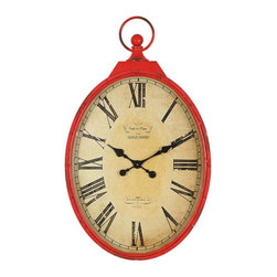 """Pocket Watch Wall Clock - From Creative Imports. Are you looking for unique accent pieces for your home? Designers drew inspiration from their travels around the world for this collection and incorporated classic ideas with bold freshness for today's trends. Satisfy your quest for something unexpected and original with this collection. Dimensions: 23""""w x 38""""h"""