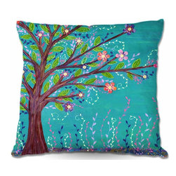 DiaNoche Designs - Pillow Woven Poplin from DiaNoche Designs - Happy Tree - Toss this decorative pillow on any bed, sofa or chair, and add personality to your chic and stylish decor. Lay your head against your new art and relax! Made of woven Poly-Poplin.  Includes a cushy supportive pillow insert, zipped inside. Dye Sublimation printing adheres the ink to the material for long life and durability. Double Sided Print, Machine Washable, Product may vary slightly from image.