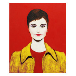 Catherine Herridge, Original, Painting - Catherine Herridge has a unique style all her own and a wonderful facial structure. The portrait is done on one and a half inch thick gallery wrapped stretcher with no tacks or staples on the side and I extended the background color to the sides. the canvas is ready to be hung.