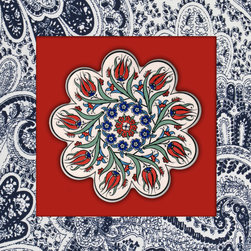 "Chooty - Blue Paisley Tile 18x18 Canvas Wrapped Art - 18x18  2"" Canvas Wrapped Art.   Our canvas is of high quality and manufactured to meet your need of high gloss finish canvas. The inks are formulated to give the colors that glow and brightness to ensure your satisfaction. Each image is UV coated to help with any direct light onto the image."