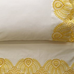 Anthropologie - Eyelet Embroidered Sheet Set - Set includes one flat sheet, one fitted sheet, and two standard pillowcases300 thread countEgyptian cotton Machine washImported